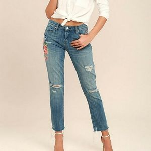 Blank NYC Embroidered Cropped Girlfriend Jeans 25